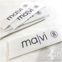 "100 White Satin Labels 1,5cm. x 4,5 cm ""Hecho a Mano"""