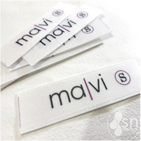 """100 White Satin Labels 1,5cm. x 4,5 cm """"Hecho a Mano"""""""
