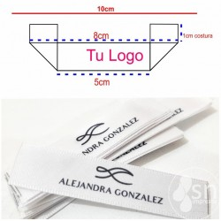 100 White Satin Labels 1,5cm. x 10cm