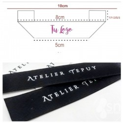 100 Black Satin Labels 1,5cm. x 10cm