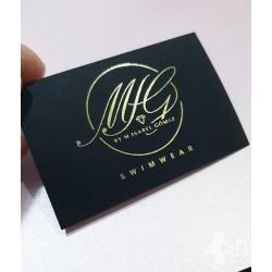 Tags de Cartulina Negra Impreso metalizado